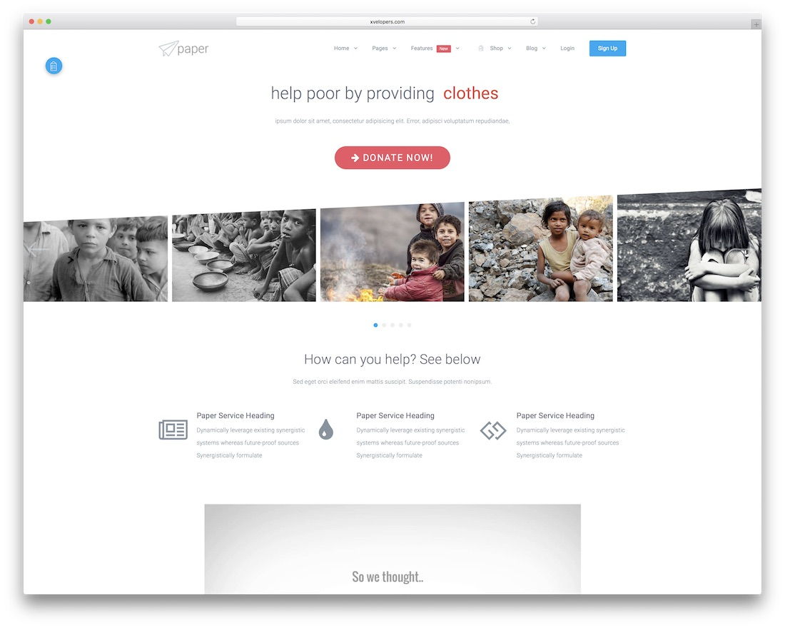 paper html charity website template