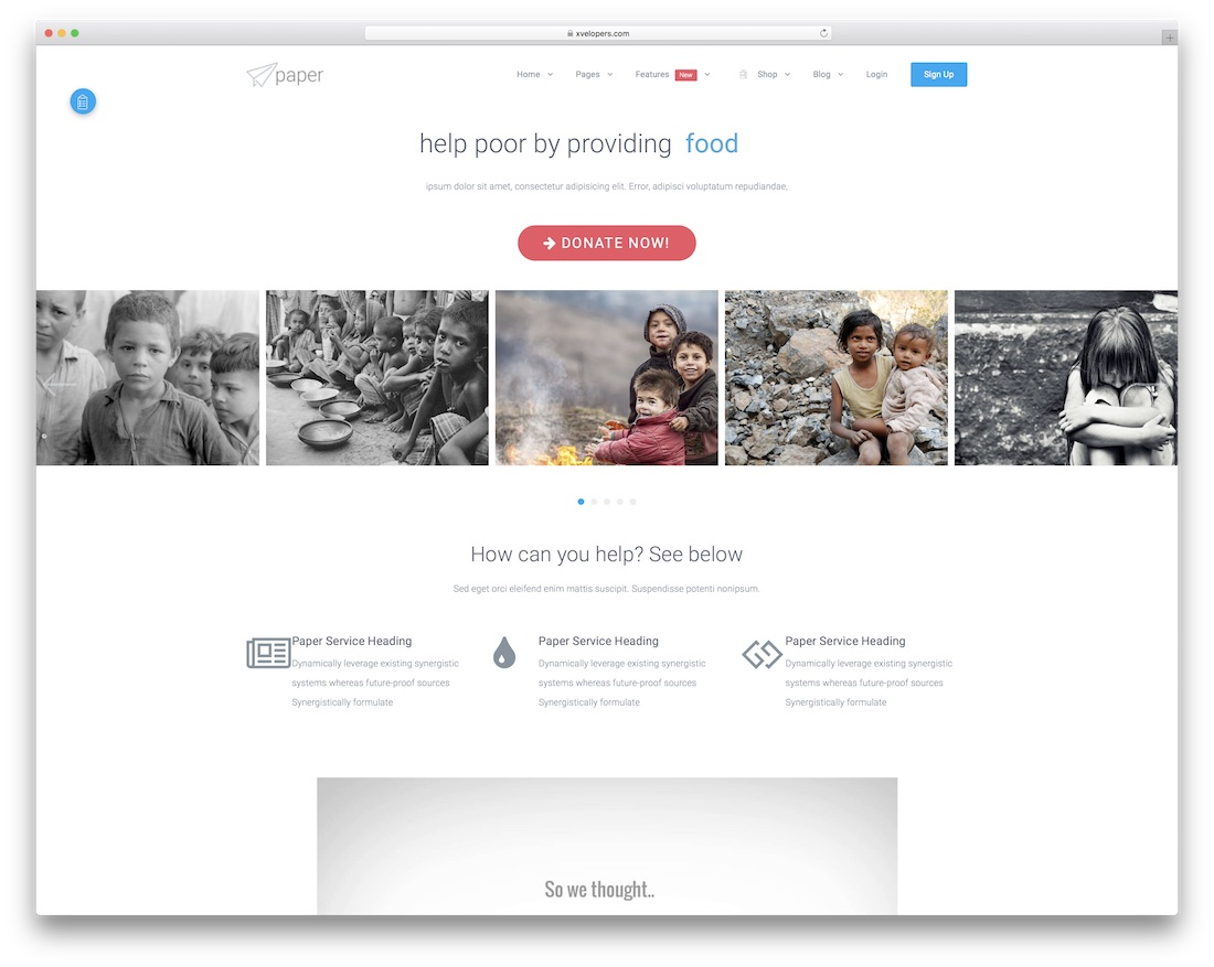 paper website template
