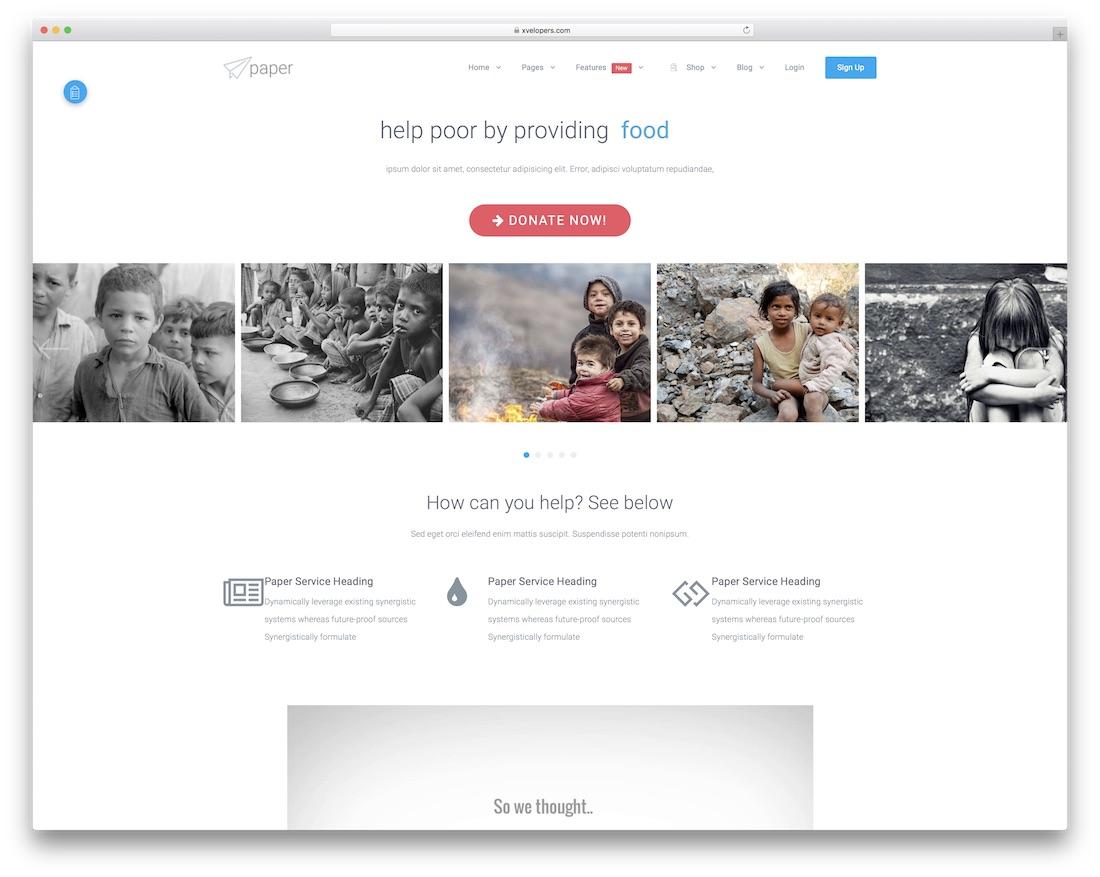 paper website template