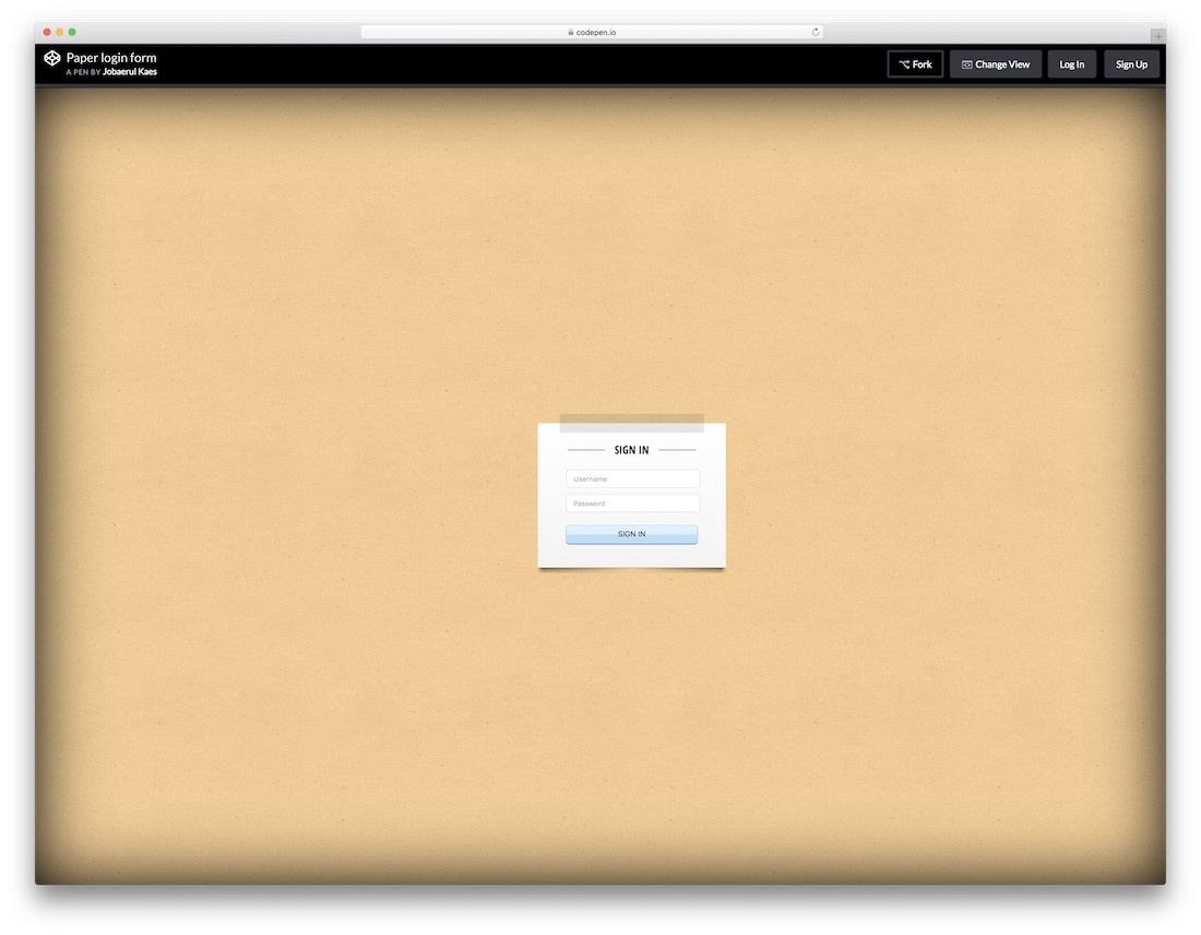 paper login css3 form
