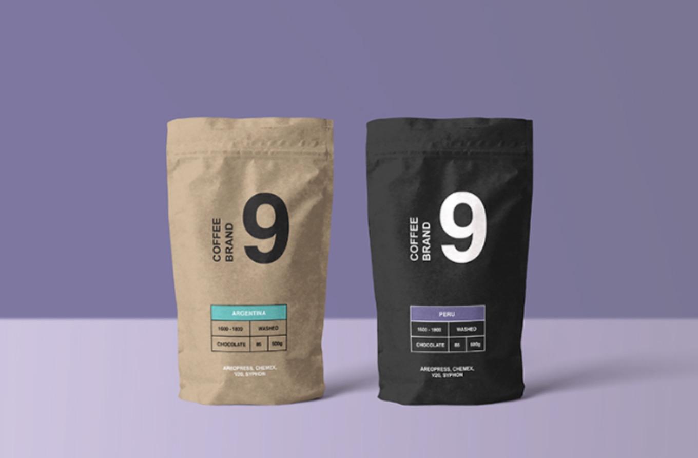 paper-made coffee bag psd mockup