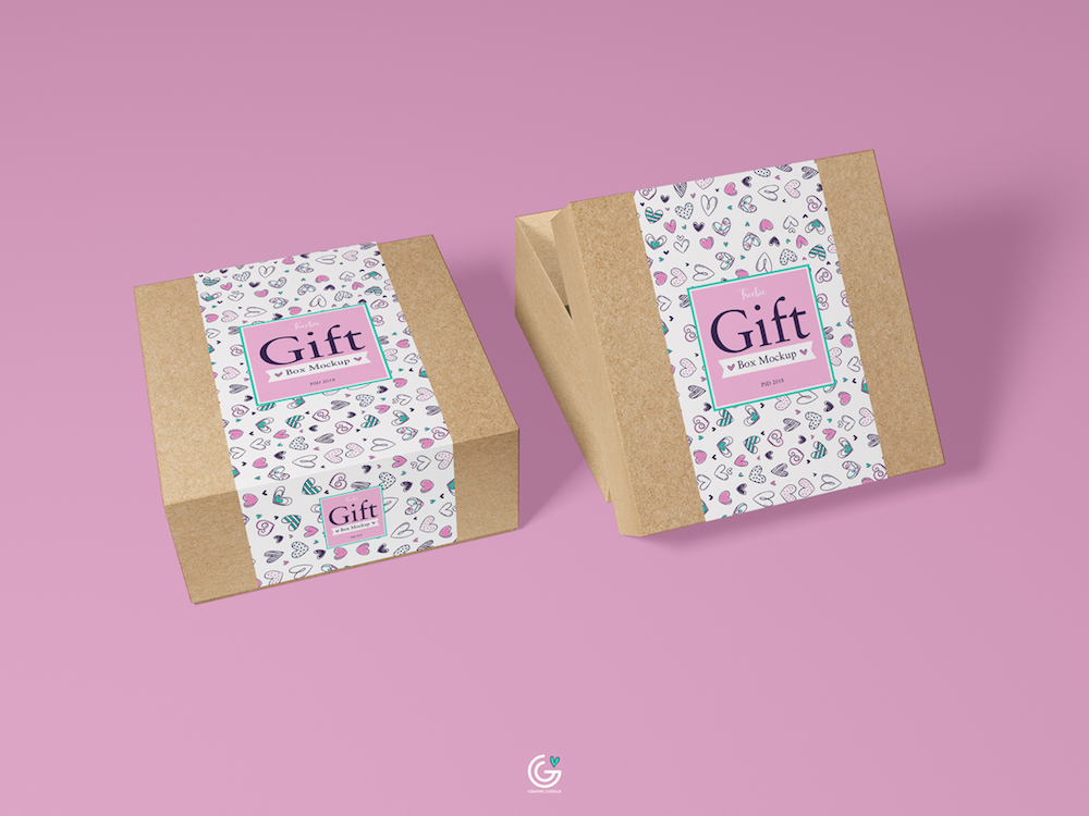 paper made gift box psd mockup