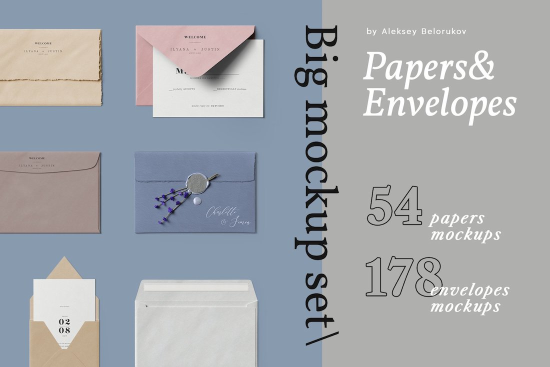 papers envelopes big mockup set