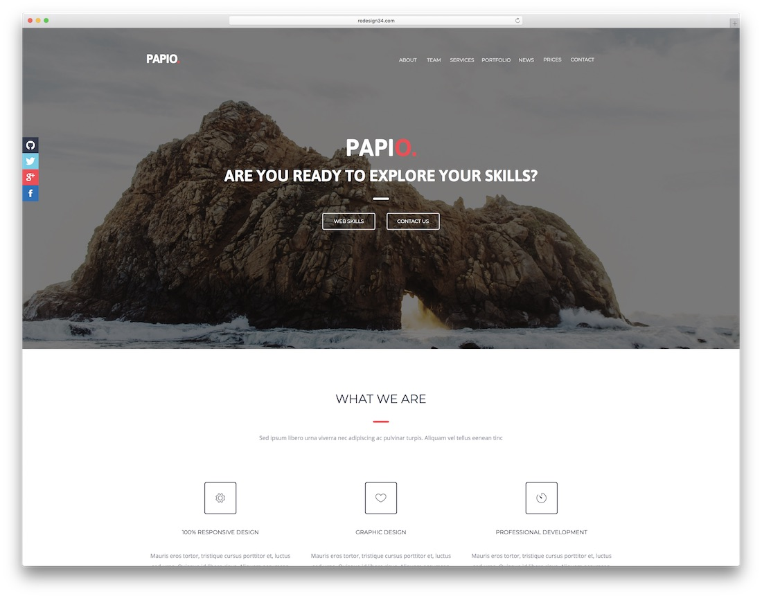 papio clean adobe muse template