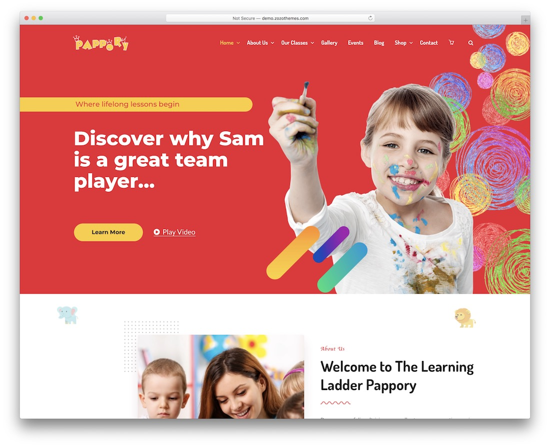 pappory kindergarten wordpress theme