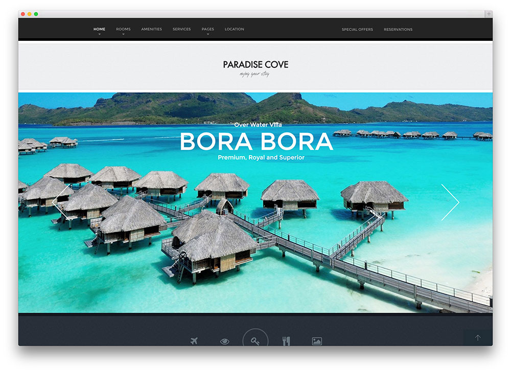 paradise cove hotel booking theme