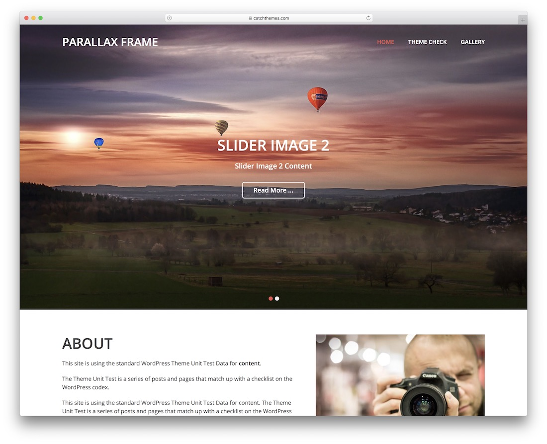 parallax frame free wordpress theme