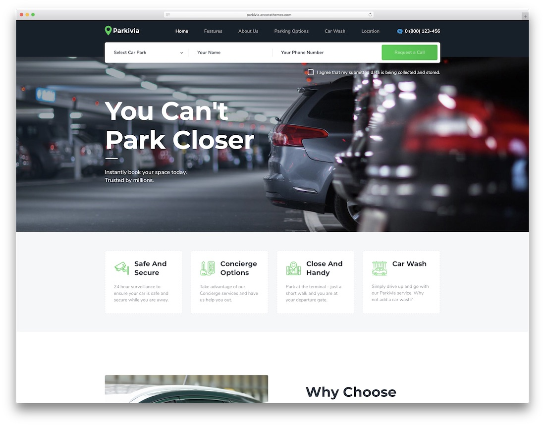 parkivia automotive wordpress theme