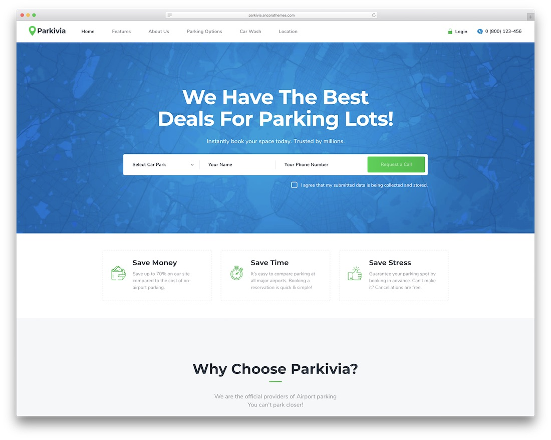 parkivia theme with appointment booking