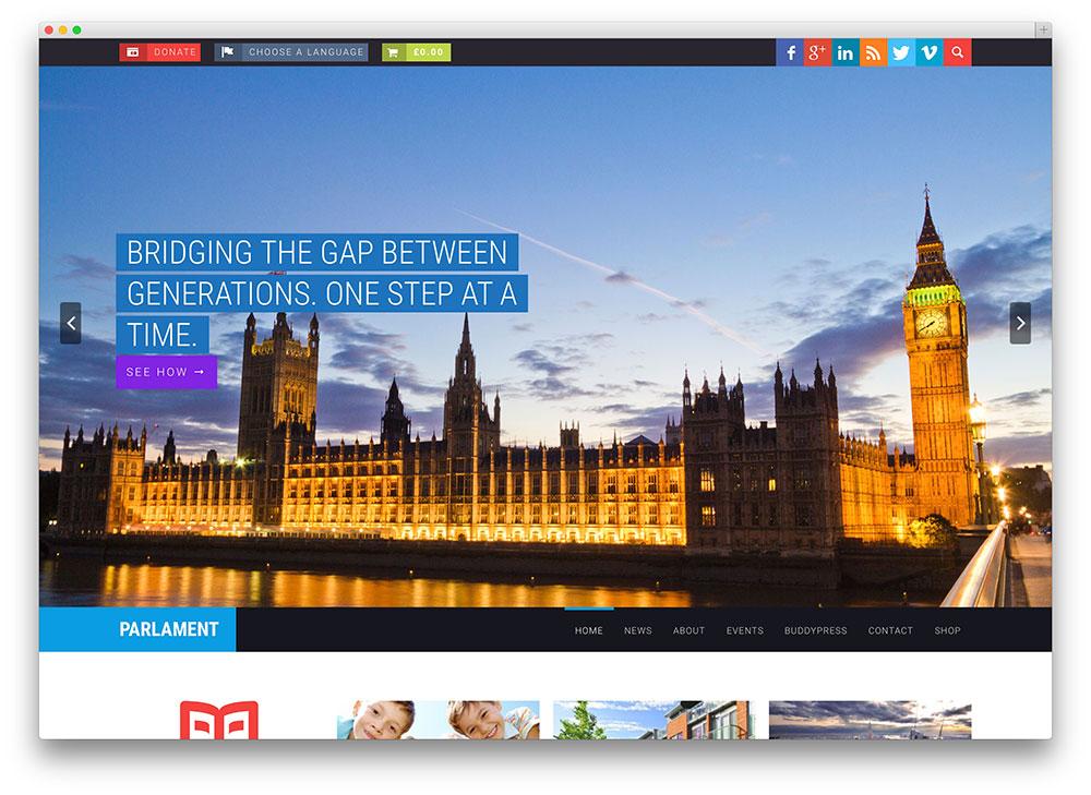 parliament fullscreen WordPress theme
