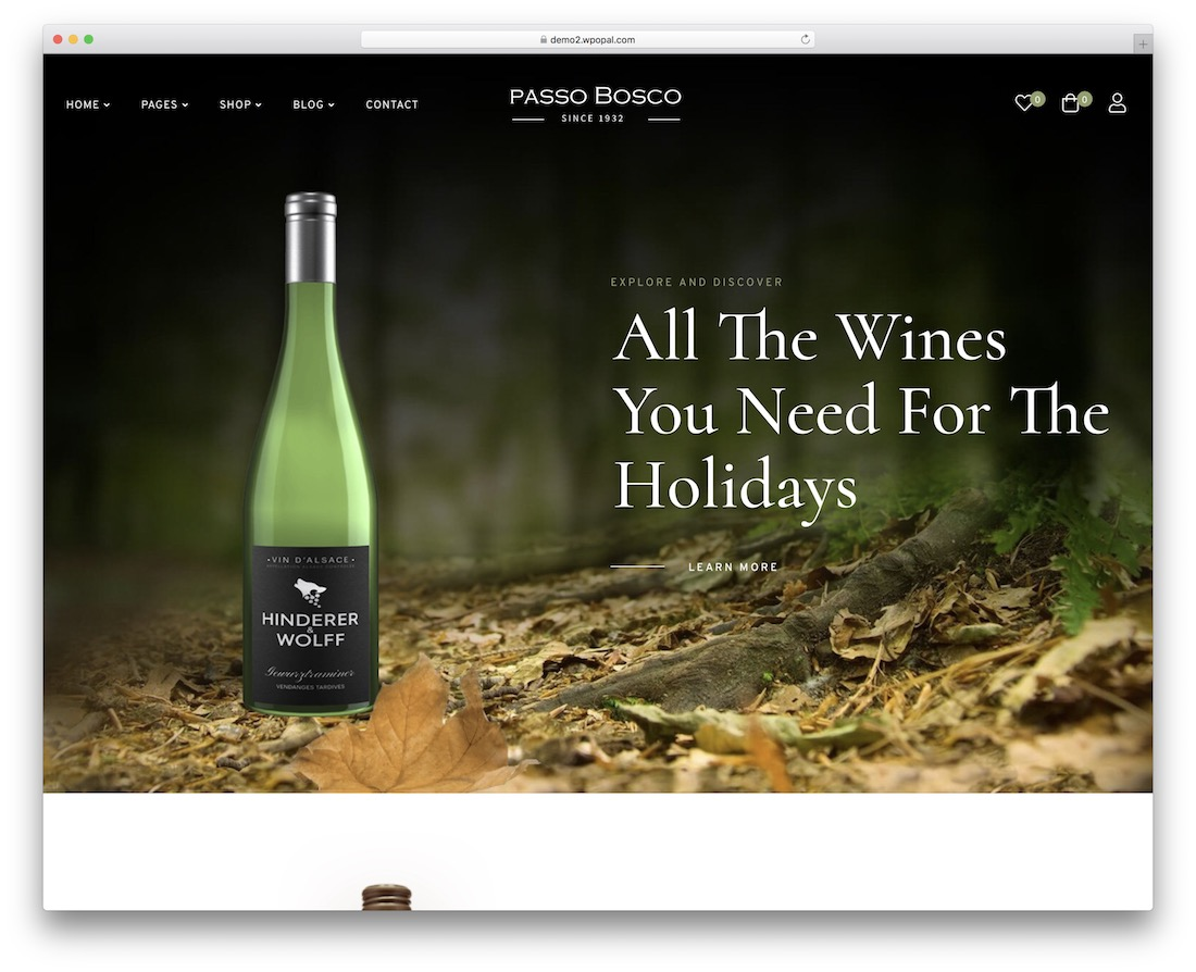 passo bosco wine website template