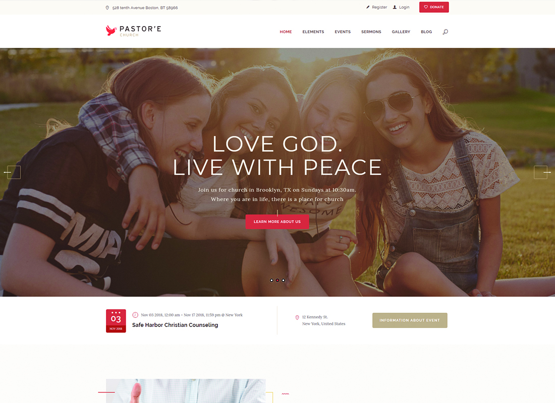 Pastor'e - Church, Religion & Charity WordPress Theme