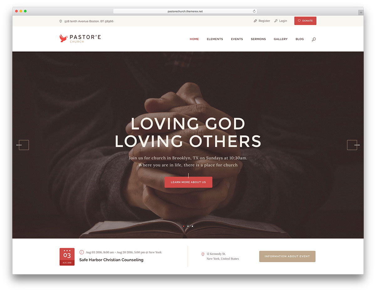 pastore - easy to use WordPress charity theme