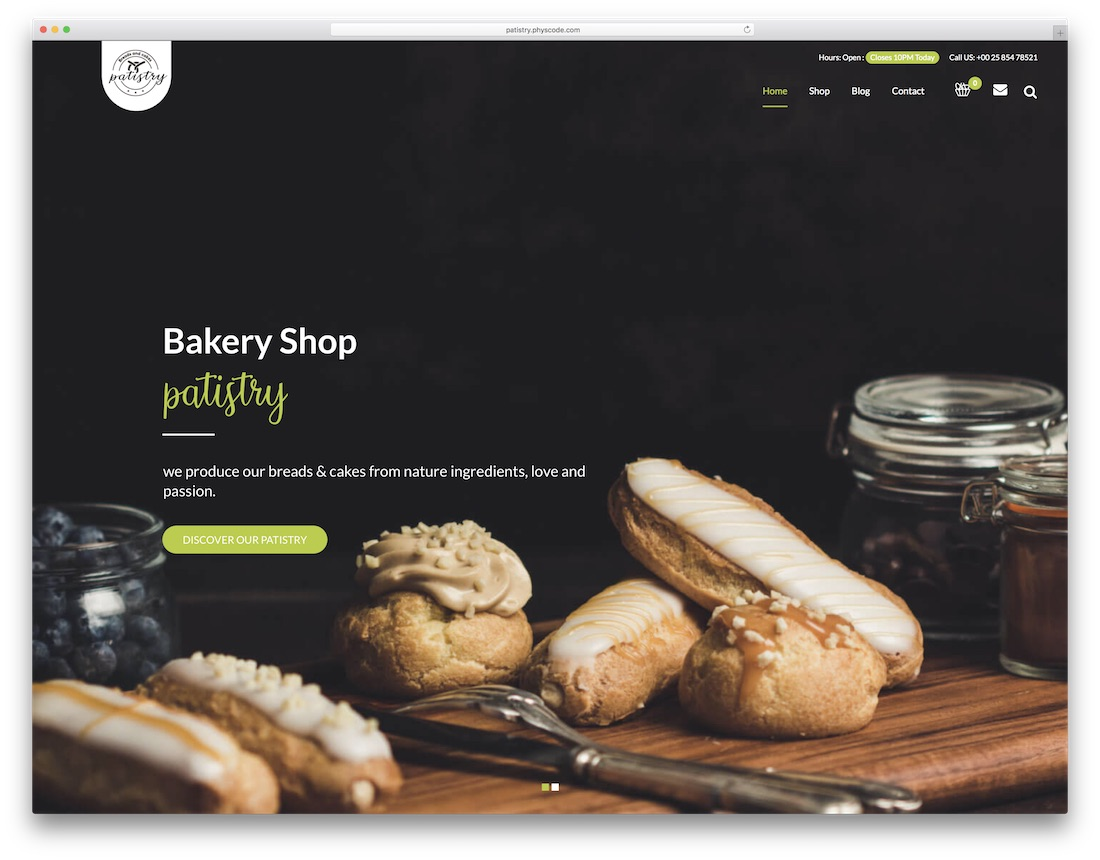 patistry wordpress theme for bakeries