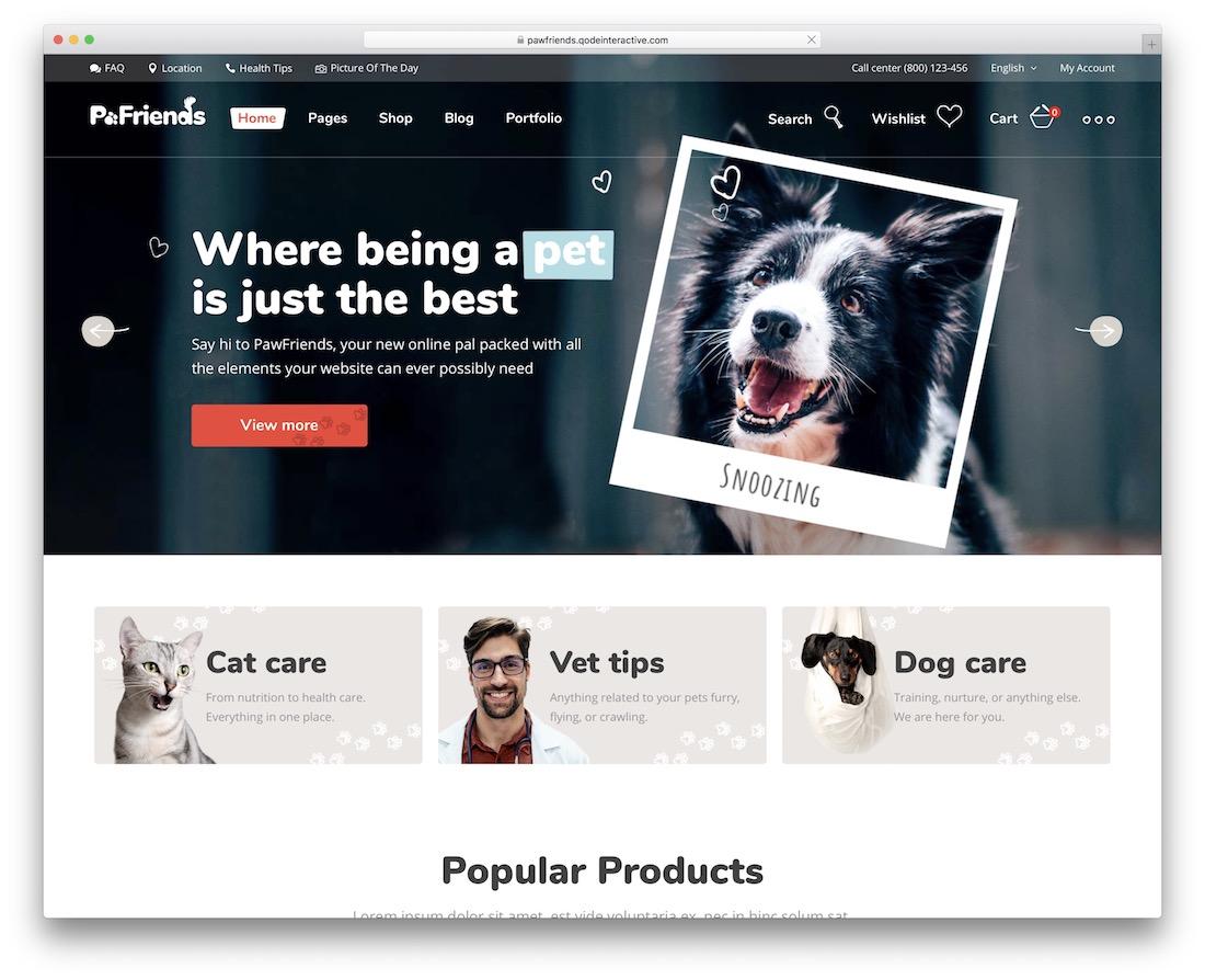 pawfriends animal wordpress theme