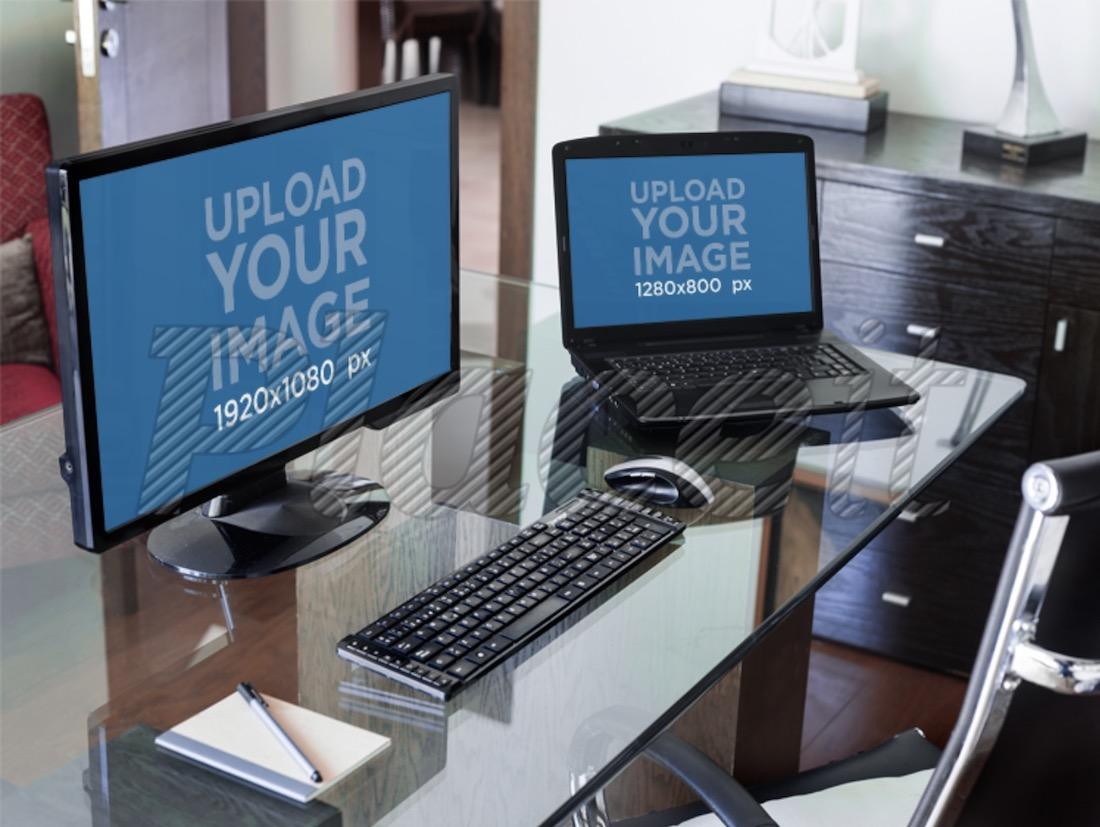 pc desktop and laptop desk mockup