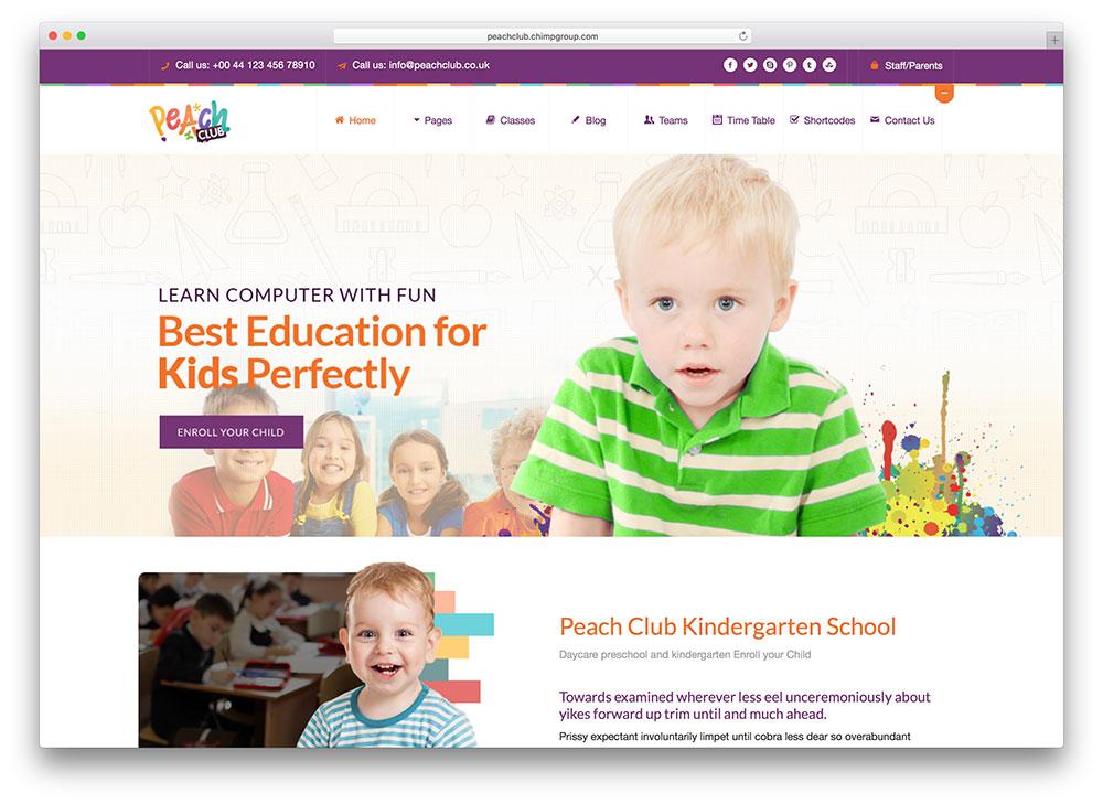 peachclub-kindergarten-wordpress-theme