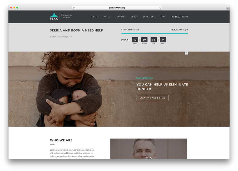 peak-minimal-charity-wordpress-theme