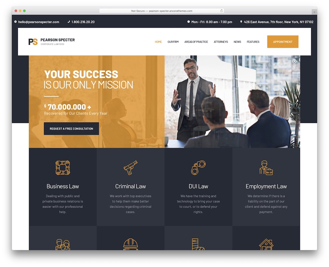 pearson specter theme with appointment booking