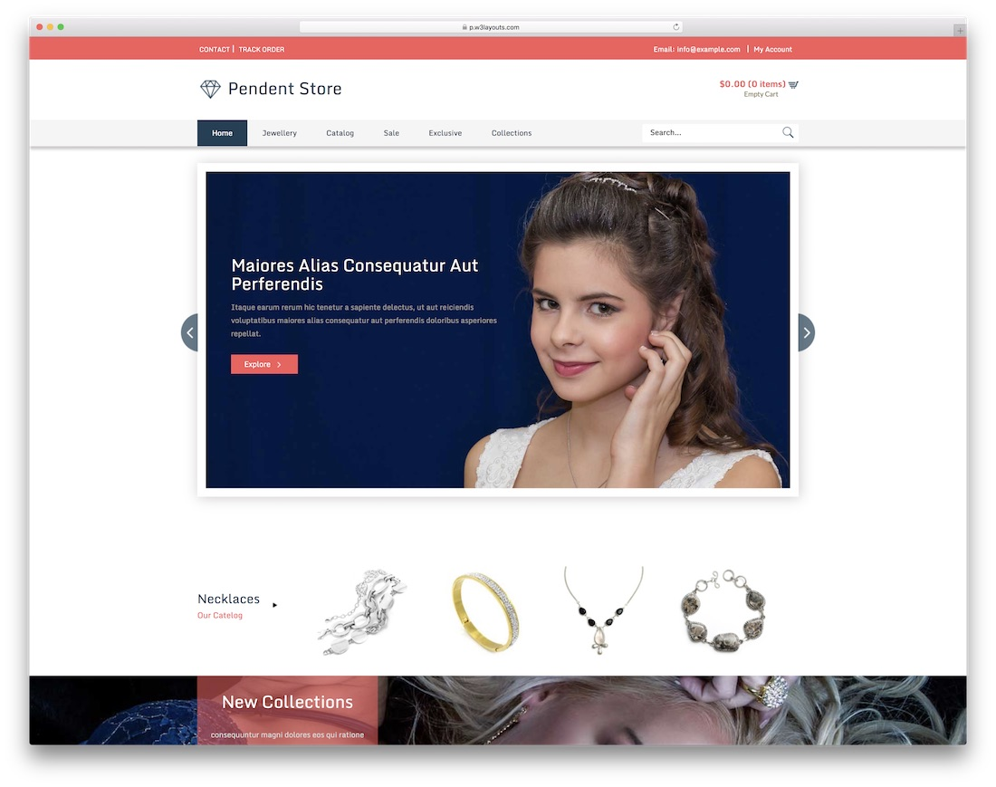 pendent store free bootstrap ecommerce website template