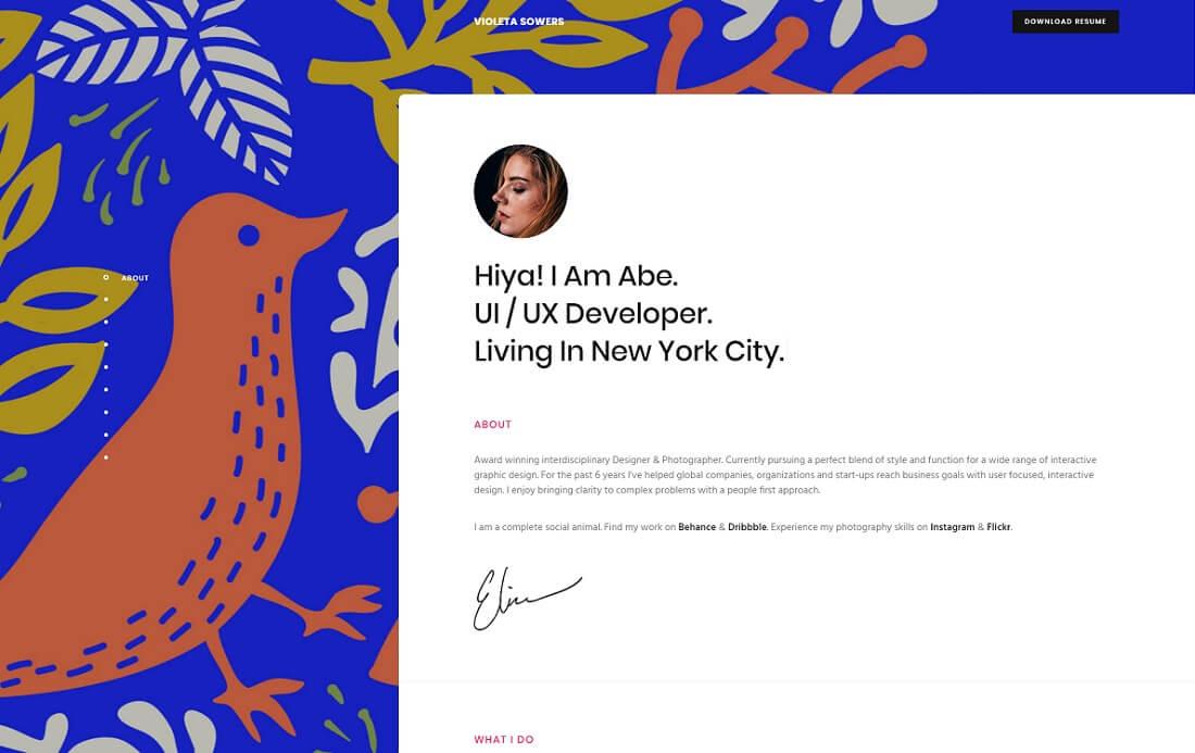 penelope resume website template