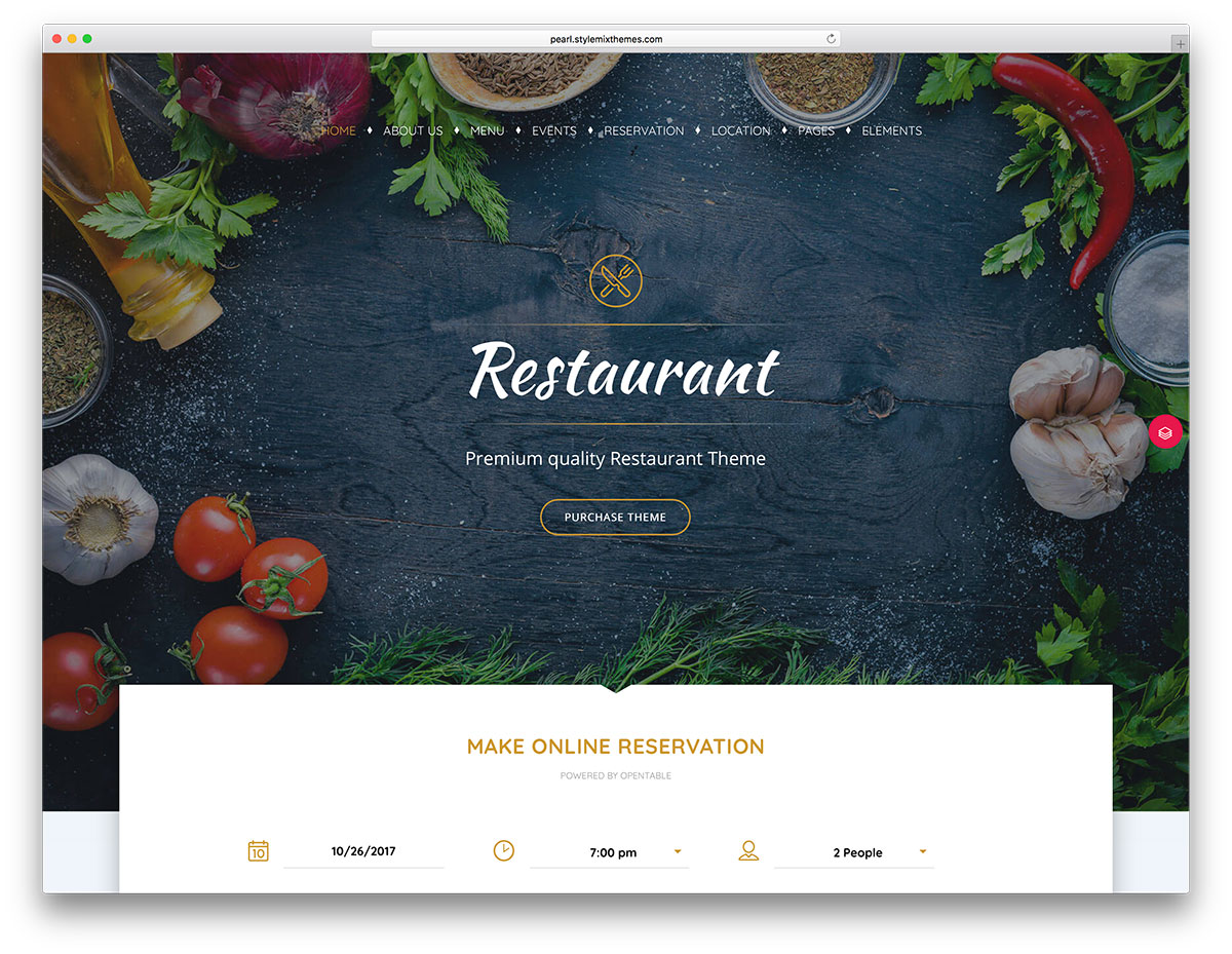 Restaurant online reservation WordPress theme