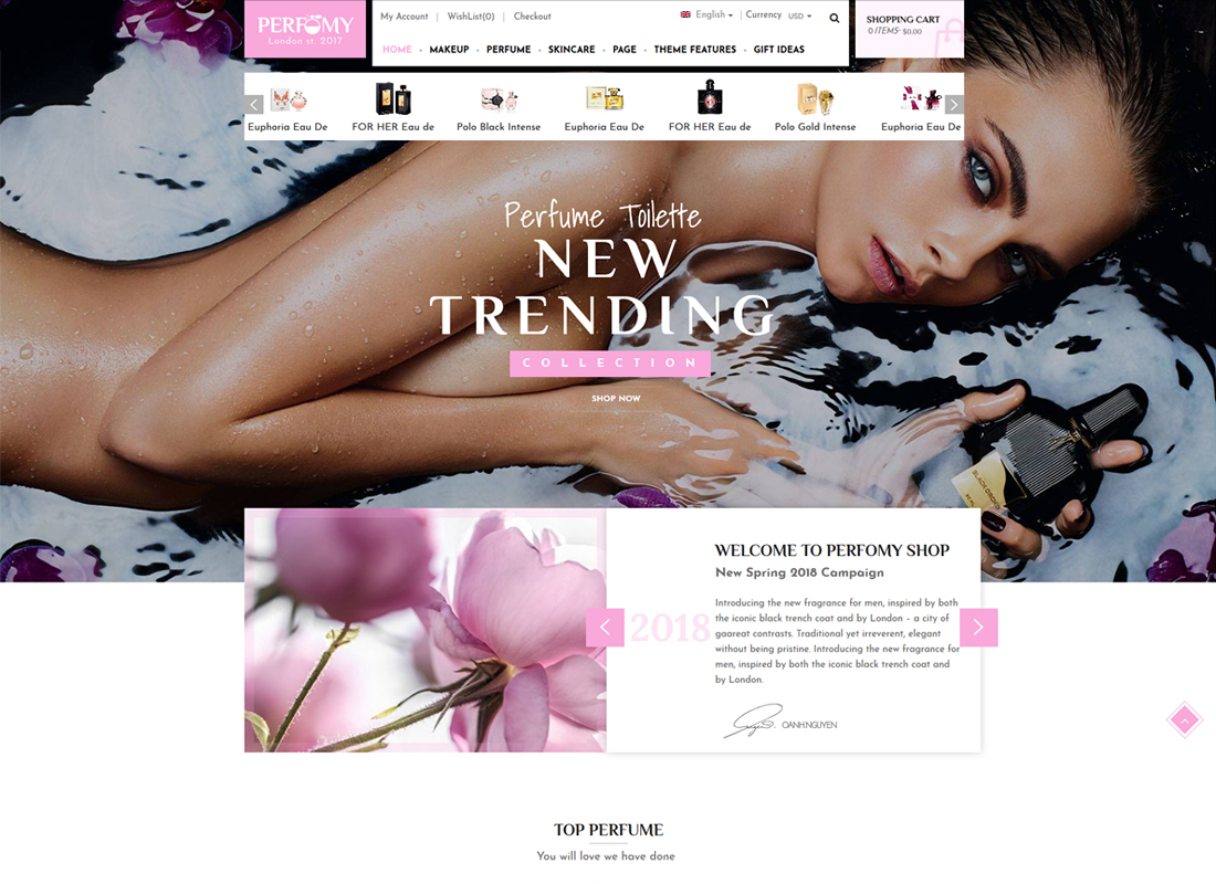 Perfomy | Perfume & Jewelry WooCommerce WordPress Theme