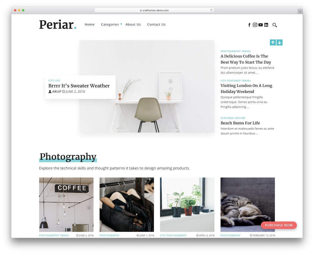 periar free photography wordpress theme