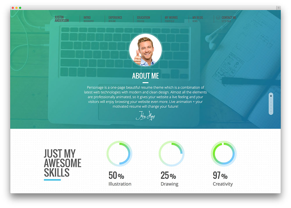 personage flat design theme md multipurpose resume wordpress - Wordpress Resume Template