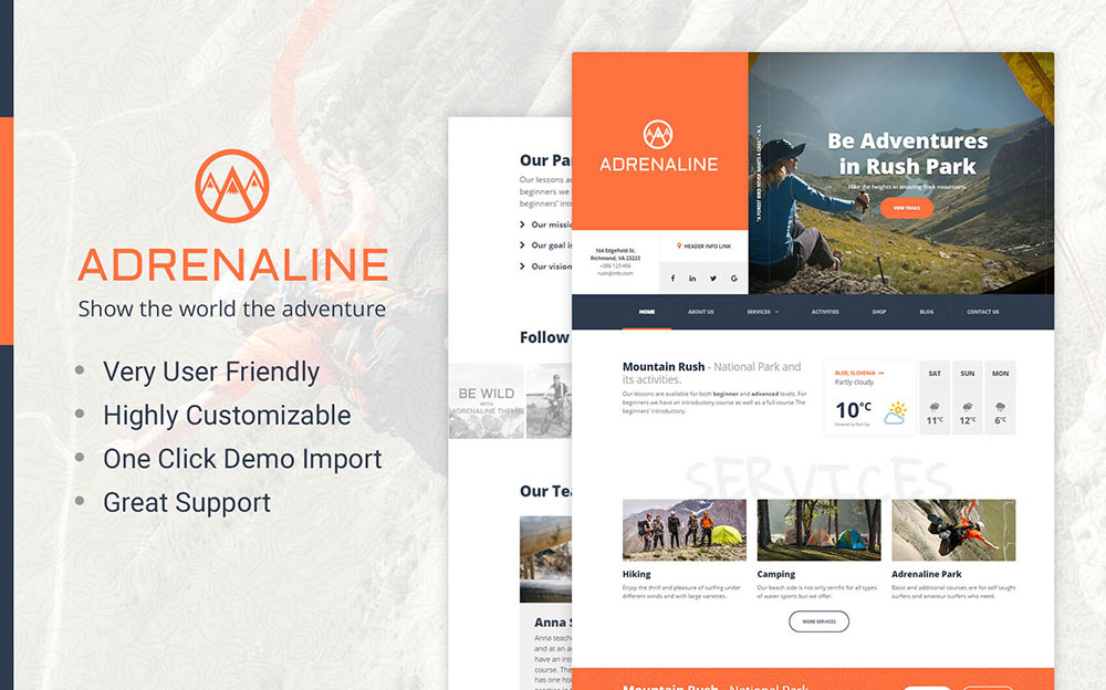 ne - WordPress theme for adrenaline sports businesses WordPress Theme
