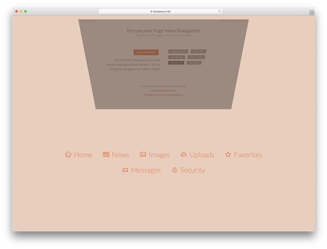 perspective page menu
