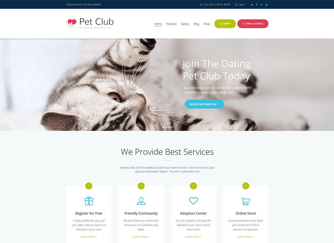 Pet Club | Services, Adoption, Dating & Community WordPress Theme