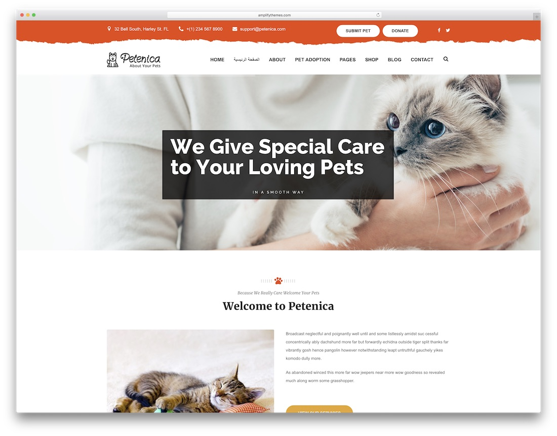 petenica animal wordpress theme