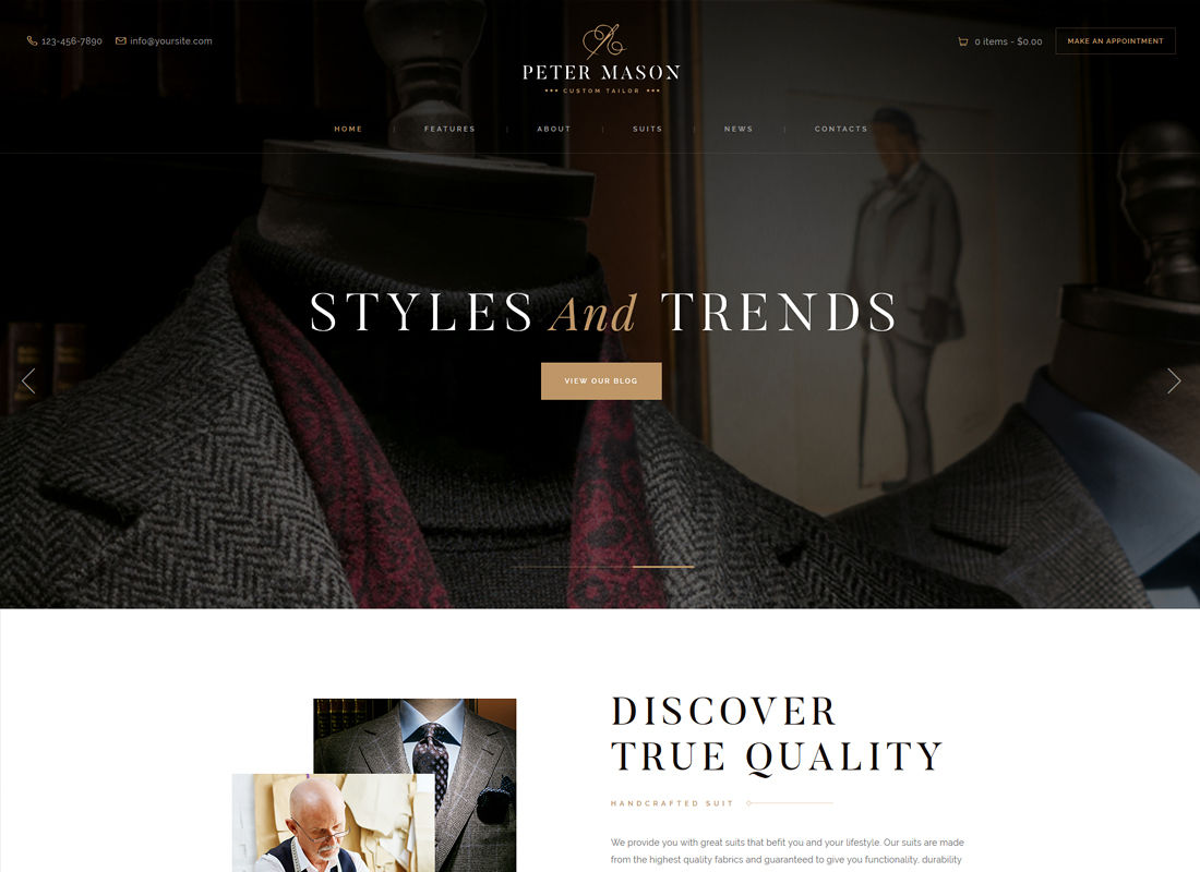 Peter Mason - Custom Tailoring and Clothing Store WordPress Theme