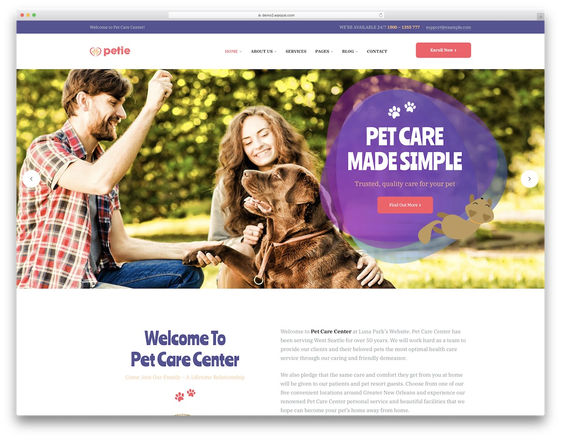 petie animal wordpress theme
