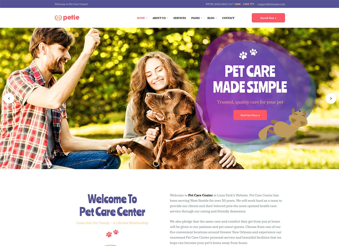 Petie | Pet Care Center & Veterinary WordPress Theme