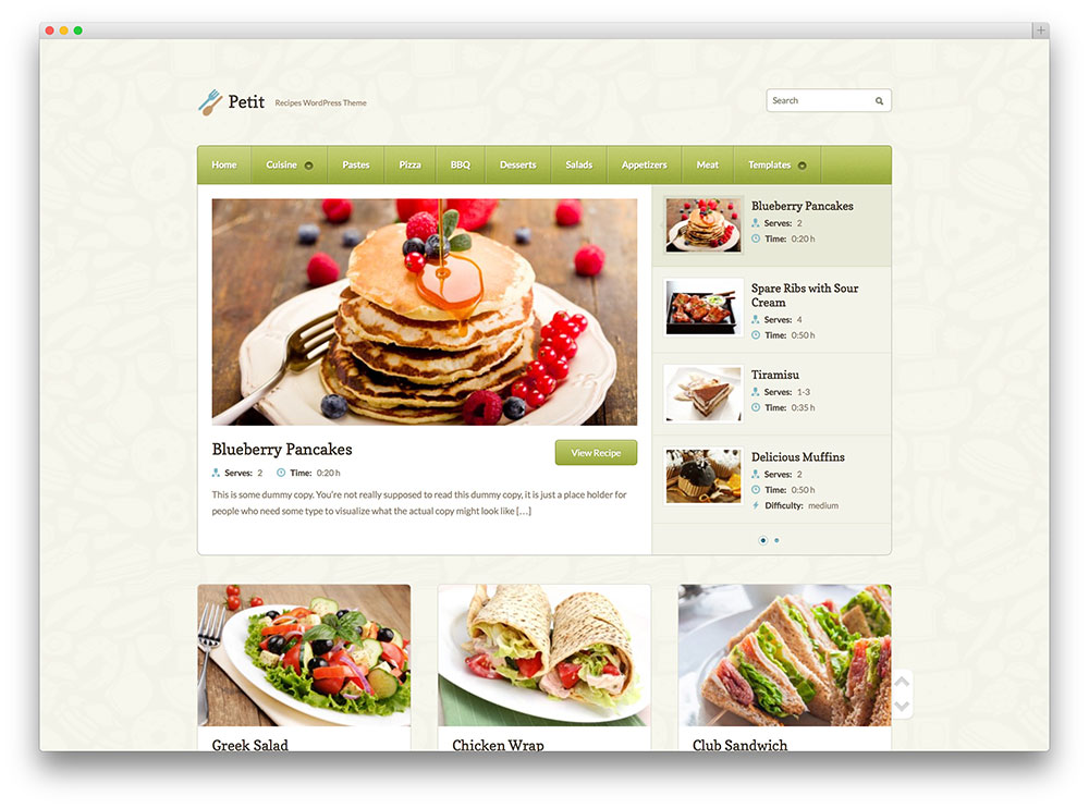 petit - recipes sharing theme
