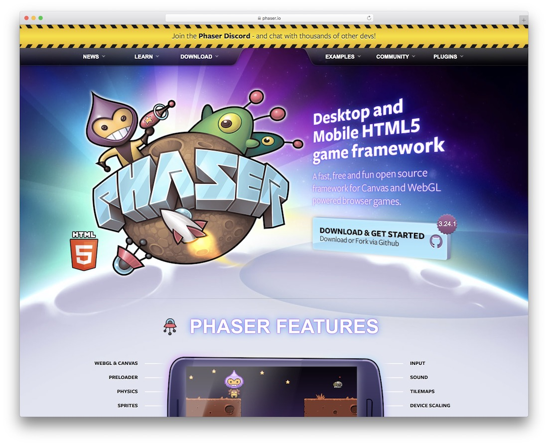 phaser javascript engine for building games