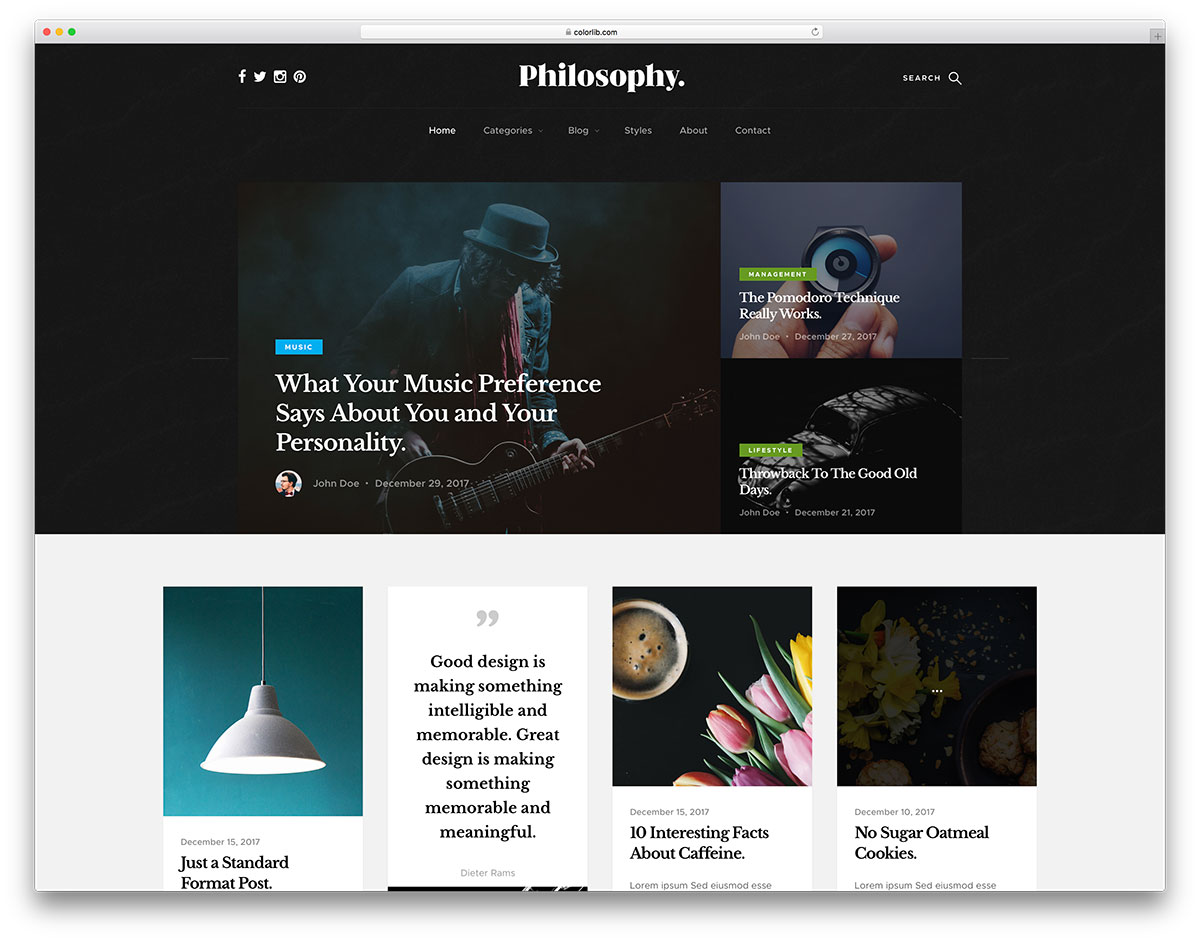 Philosophy   Free Masonry Grid Blog Website Template   Colorlib