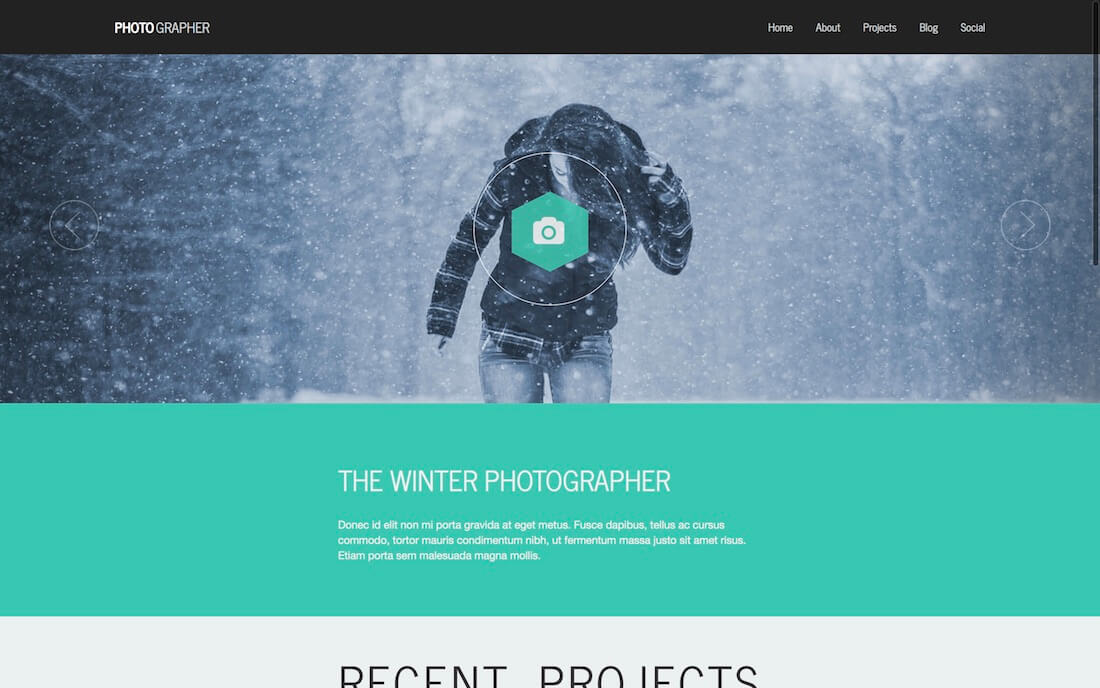 photographer plus free photography website template