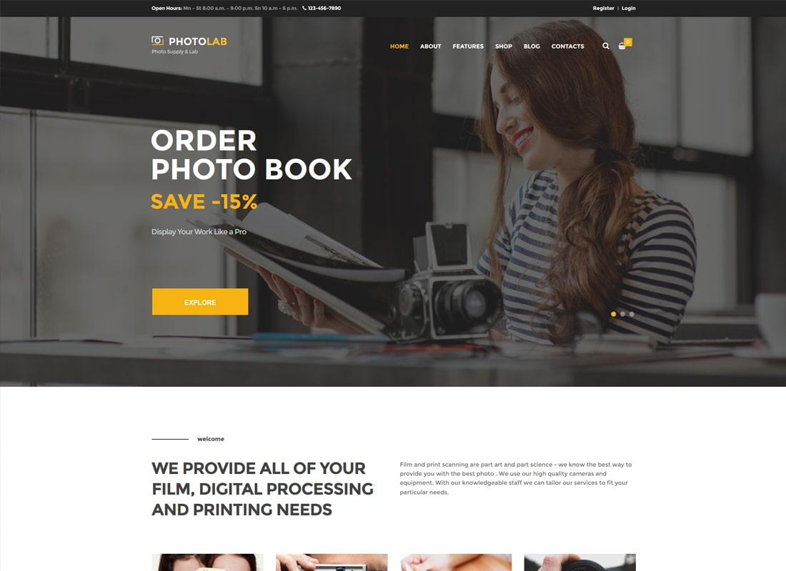 PhotoLab | A Trendy Photo Company & Photo Supply Store WordPress Theme