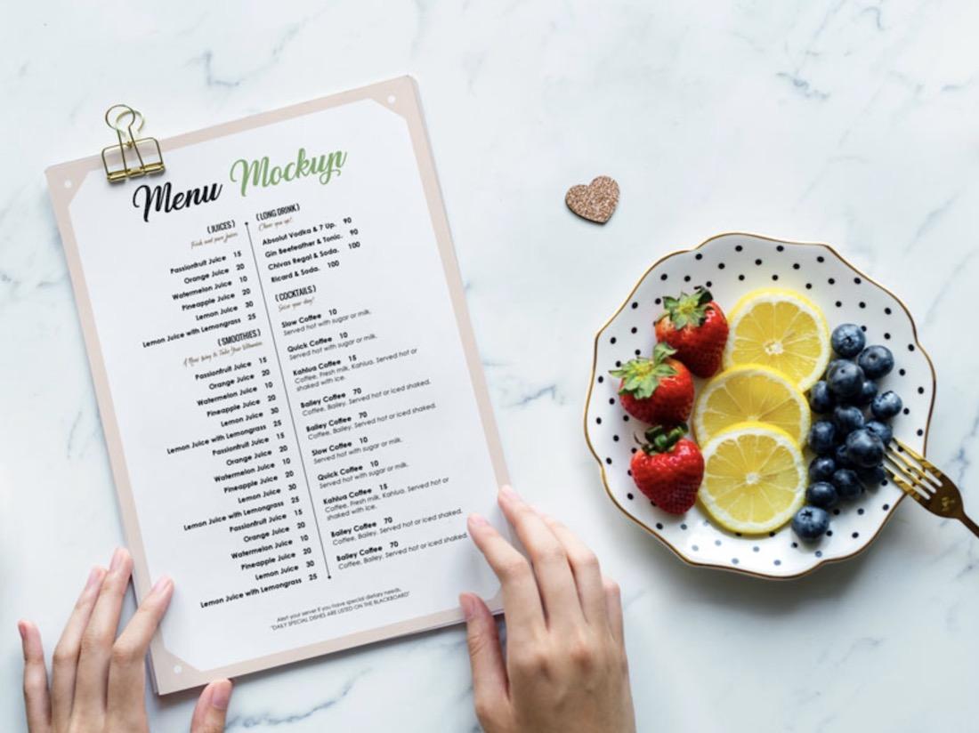 photorealistic restaurant menu card psd mockup