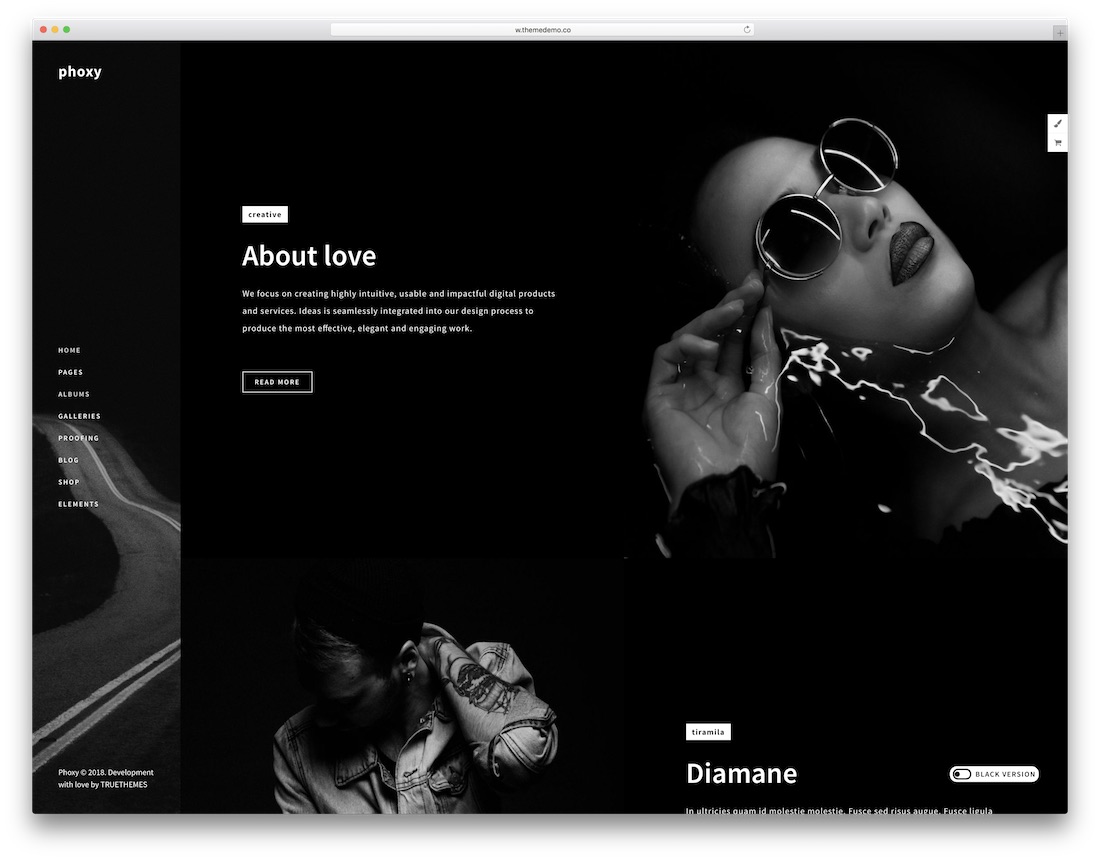 phoxy dark wordpress theme