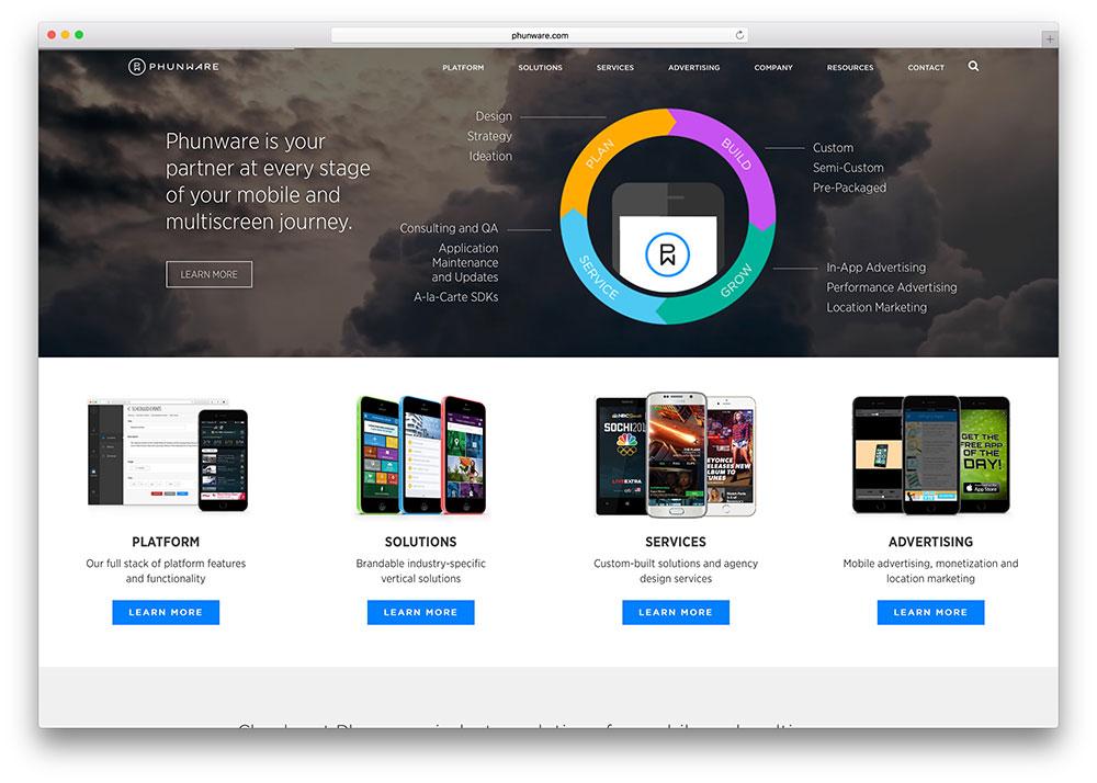 phunware-mobile-solutions-website-using-jupiter