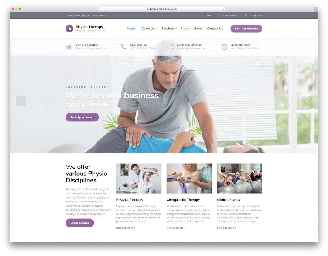 physio physiotherapy chiropractor wordpress theme