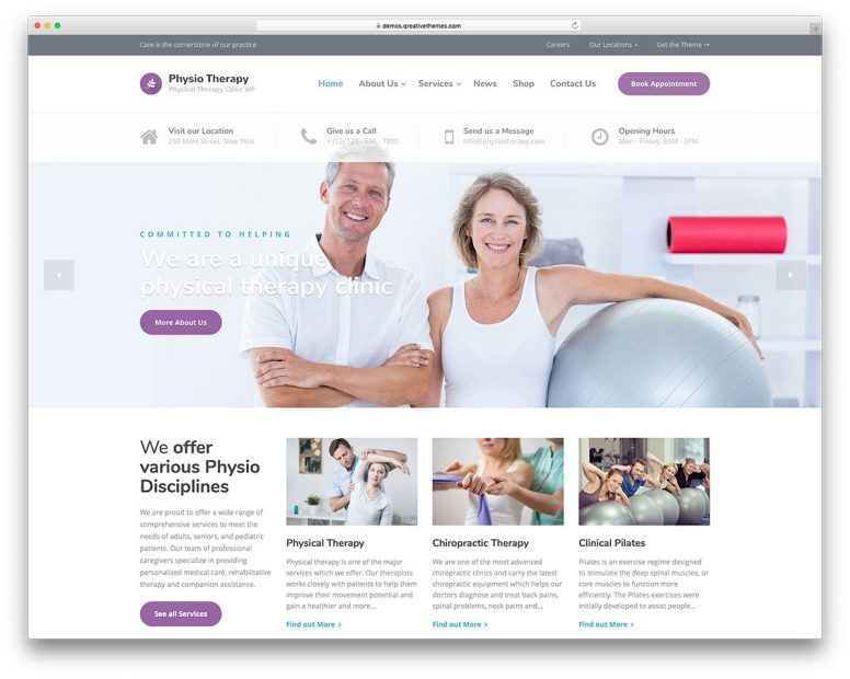 20 Physiotherapy & Chiropractor WordPress Themes 2017