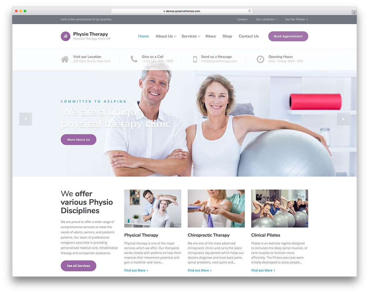 18 Physiotherapy & Chiropractor WordPress Themes 2019