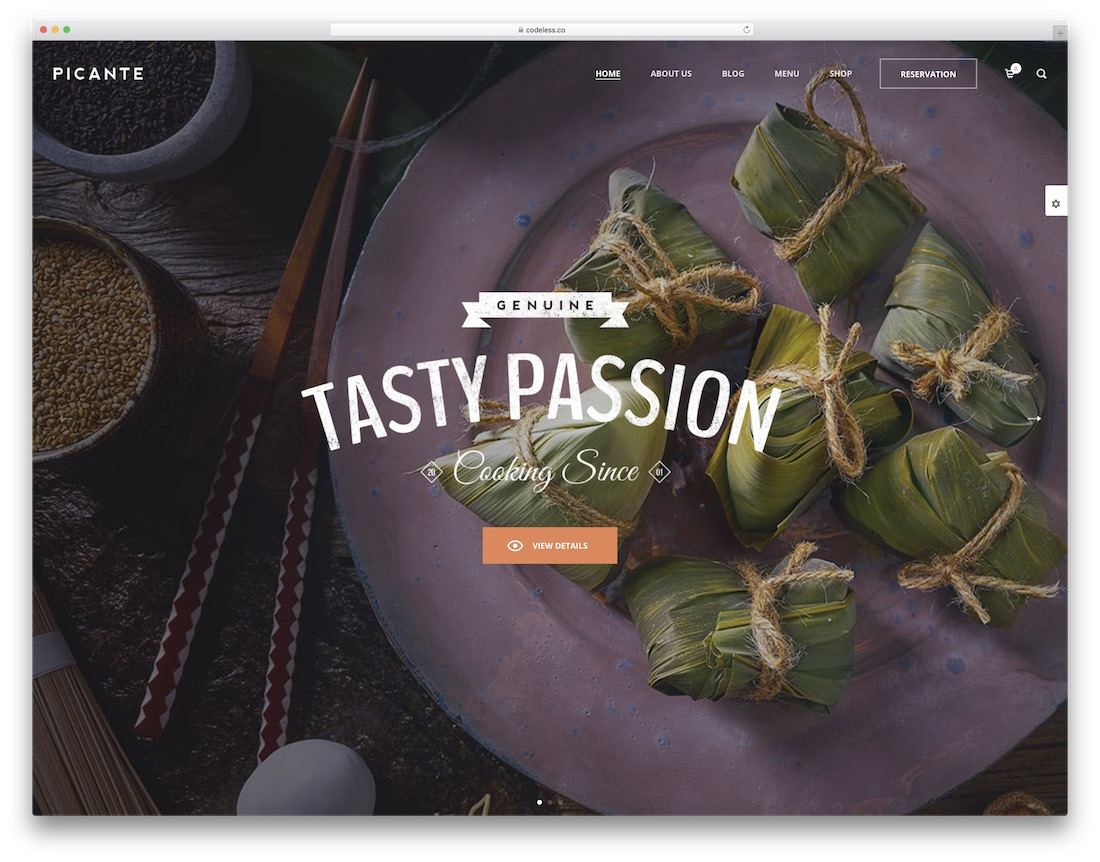 picante food website template