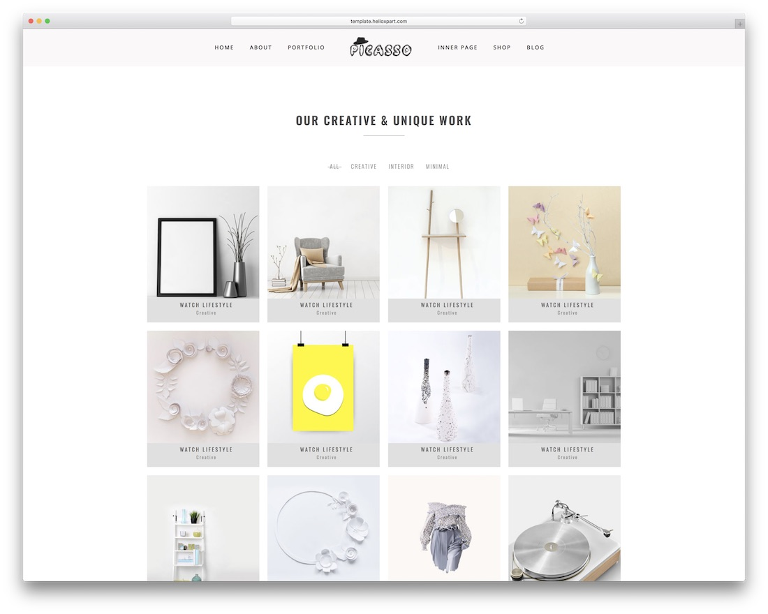 picasso grid website template