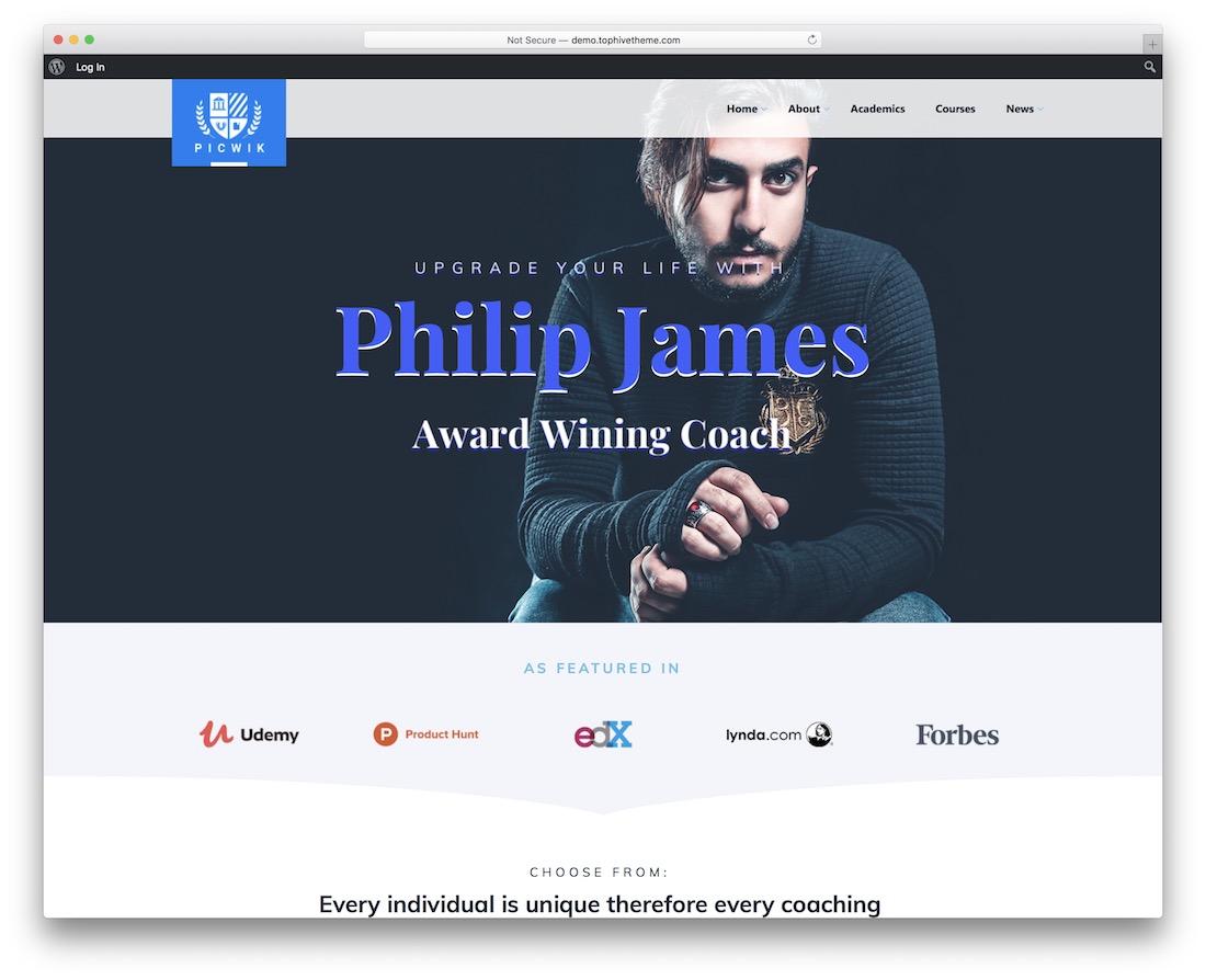 picwik coaching wordpress theme